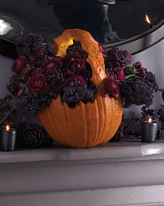 Purple + Plum flowers in Pumpkin. {Halloween Inspiration and Decor for your DIY Party and Holiday Festivities.}