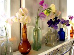 jar flowers bottl, jar, bathrooms, glass, bedrooms, sky art, flowers, sweet peas, bathroom windows
