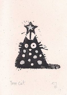 Tree Cat - lino cut print Christmas card (silver) £2.40: