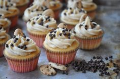 Cookie Dough Cupcakes. chocolate chips, brown sugar, cupcakes, food, cookie dough, dough stuf, stuf cupcak, cookiedough, cooki dough