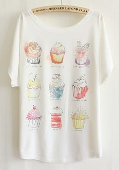 White Cakes Print Bat Sleeve Loose Cotton T-Shirt