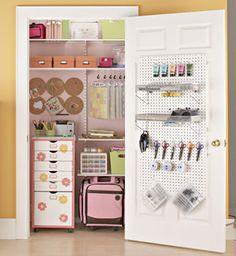 Organized craft closet.