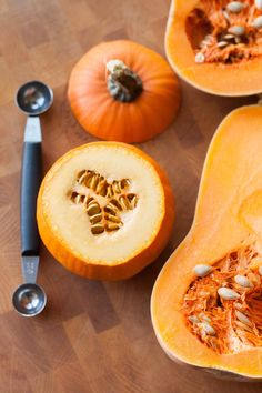 """""""Whether you're carving mini pumpkins into Jack-o-lanterns or just prepping some butternut squash, scraping out of the seeds and stringy bits around them can be an annoying task. But did you know you can use a kitchen tool you probably already have in your gadget drawer to make the whole process much, much easier?"""""""