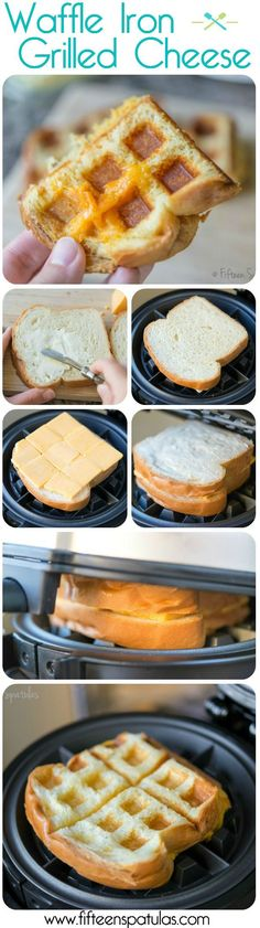 Waffle Iron Grilled Cheese Sandwich.~ we are going to have some fun with our new toy.  Nelson Nelson Hill Zlotkowski  Z