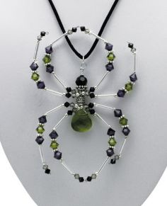 Michaels DIY (cool).. Once Bitten Necklace..    Get ready for Halloween by creating this spider pendant necklace. Use the beautiful crystal pendants and crystal beads from the Jolee's® Jewels collection featuring CRYSTALLIZED™ - Swarovski Elements. The components are easily assembled with jewelry wire. holiday, crafti pin, diy beaded necklaces, bead spider, pendant, beaded halloween jewelry, beaded spider tutorial, beaded spiders, bead necklaces