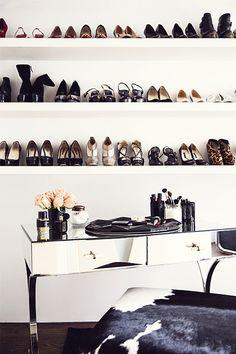 shoe shelves + makeup station