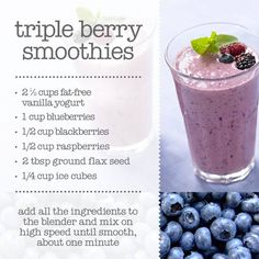 Triple berry smoothie recipe! | #recipes #food #healthy #fruit