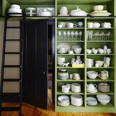 Open Shelving in Kitchen with rolling ladder