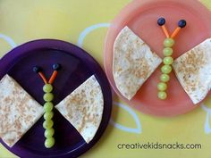 Use a tortilla for wings, edamame for the body and carrots for the antennas.  Eat and enjoy!