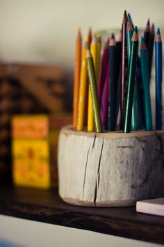 DIY rustic pencil holder--made from wood