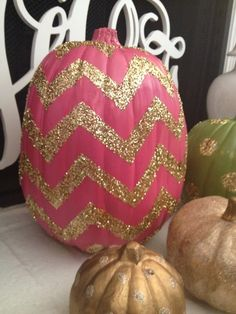 Pink Chevron & Glitter Pumpkin | Community Post: 39 Outside-The-Box Pumpkin Ideas holiday, polka dots, idea, chevron pumpkin, glitter pumpkin, glitter chevron, painted pumpkins, chevron stripes, halloween