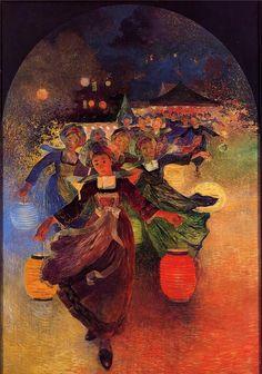 Ferdinand du Puigaudeau, Breton Girls with Chinese Lanterns