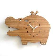 Hippo Modern Bamboo Wall Clock by decoylab on Etsy, $68.00