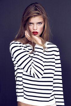 stripes+ red lip