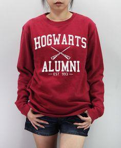 this sweatshirt. HOGWARTS ALUMNI Shirt Harry Potter Shirt Sweatshirt Sweater Unisex - silk screen handmade on Etsy, $24.99