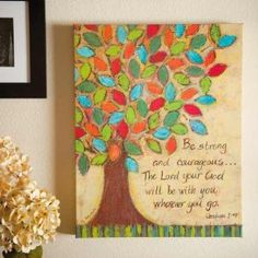 Amazon.com: Religious Courageous Painting Bible Verse Oil Painting Hand Painted Wall Art: Home & Kitchen// would love this on a 6part window