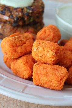 3 Ingredient Baked Sweet Potato Tater Tots (use coconut flour instead of rice flour?)