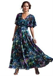 Plus Size Floral Print Empire Gown image