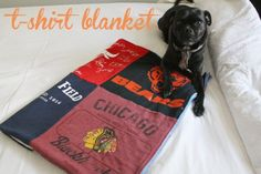 easy t-shirt blanket tutorial- I need to do this with all the shirts I got in high school for extra credit!
