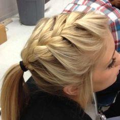 french braid into a pony tail.