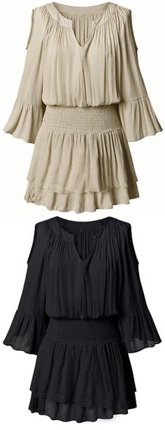 "Shoulders look best naked. This Candy Store chiffon tunic is detailed with fare sleeve&v-neck design&elastic waist! Ease your day with <a href=""http://Cupshe.com"" rel=""nofollow"" target=""_blank"">Cupshe.com</a>"
