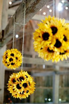 Sunflower Wedding Decor..foam balls and fake sunflowers