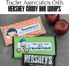 It's Written on the Wall: 10 Teacher Appreciation Gifts-Hershey Candy Bar Wraps-Excellent Gift for 1st Day of School!