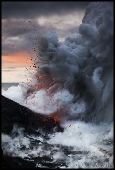 Lava explosion after dawn at the ocean entry of Kilauea volcano on the Big island of Hawaii!!