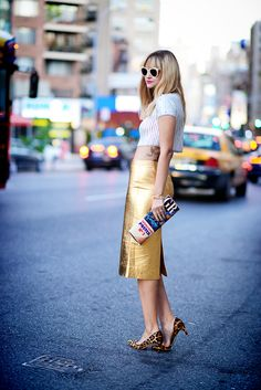 Wearing: Skirt- Zara, crop top- Topshop, shoes- J.Crew, clutch- vintage via The Fine Art of Design, rings- Threadsence, bracelets- Madewell...