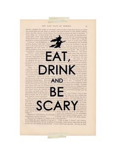 Eat, drink and be scary – the perfect Halloween print. #MarthaStewartLiving