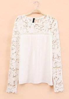 White Plain Round Neck Long Sleeve Chiffon Blouse