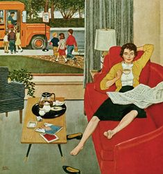 Finally...the kids are off to school! ~ Morning Coffee Break, art by Amos Sewell.  Detail from Saturday Evening Post cover September 12, 1959.