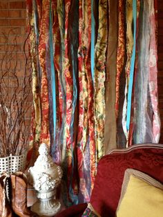 Boho Fabric Garland Curtain Backdrop - best idea for unique shower curtain