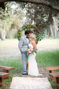 natural wedding ceremony, photo by Michael and Kate Photography http://ruffledblog.com/lake-hodges-wedding-inspiration #ceremonies #weddingideas