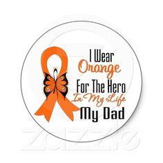 Leukemia Orange Ribbon Hero My Dad Stickers from Zazzle.com