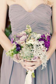 purple wintry flower arrangement // photo by JenniferEileen.com