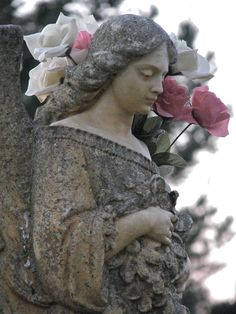 Lovely statue memori, cemetery angels, hairstyle ideas, garden angels, gardens, vintage roses, garden statues, stones, angel statues