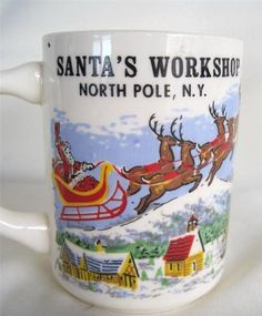 Vintage Santa's Workshop North Pole NY Souvenir Mug Near Lake Placid NY | eBay