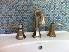 Penny tile backsplash in cabana bath