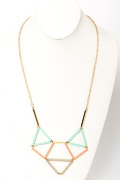 Pastel geometric statement necklace.