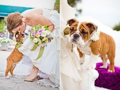 Bride kissing her puppy. So sweet.