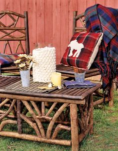 Moose Throw Pillow and Blue Tartan With Outdoor Twig Furniture