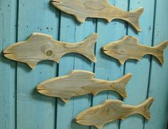 Fish School of Natural Wood Fish Wooden Sign Wall Art Lake Beach House Cabin Cottage on Etsy, $72.00