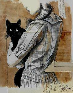 "Saatchi Art Artist Loui Jover; Drawing, ""sintram and his companion"" #art"
