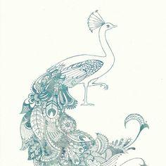 Mehndi-style peacock print by calamaristudio