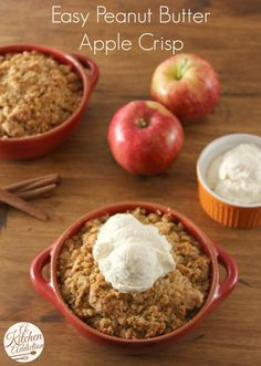 Easy Peanut Butter Apple Crisp - A Kitchen Addiction