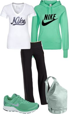 """""""Nike - Mint Green"""" by angiejane ❤ liked on Polyvore"""