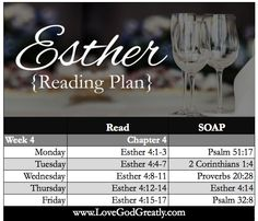 Esther Bible Study Week 4 Reading Plan #OnlineBibleStudy LoveGodGreatly.com