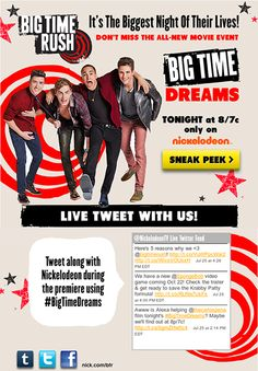 """Nickelodeon encouraged fans to tweet along during the premiere of """"Big Time Dreams,"""" and showed the latest #BigTimeDreams tweets directly within the email. #emailmarketing #socialmedia"""