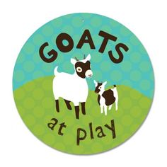 "Goats At Play Sign 12"" Round - Blue"